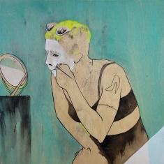 """Freak Bitch, 2015; acrylic, Indian ink on wood panel (12"""" x 12"""")"""