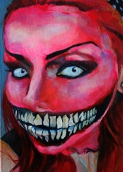 """(Hate Her to Death) Bella Morte, 2015; acrylic on canvas board (7"""" x 5"""")"""