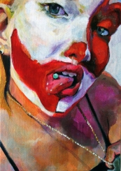 """(Hate Her to Death) Debbie in the Dark 2015; acrylic on canvas board (7"""" x 5"""")"""