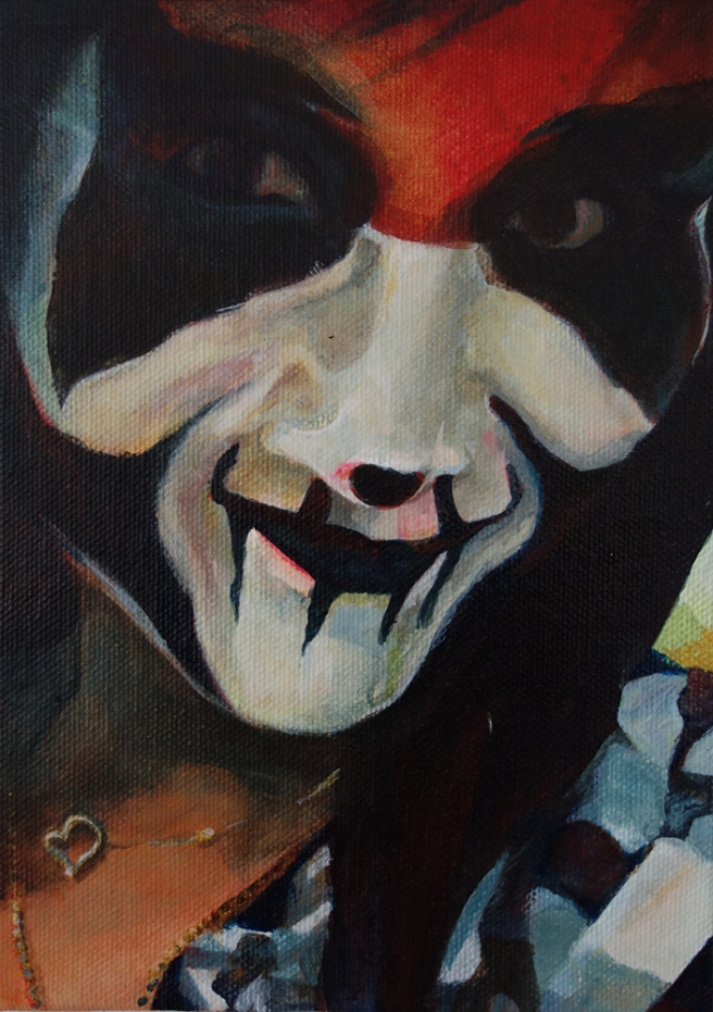 """(Hate Her to Death) Haunted Neden, 2015; acrylic on canvas board (7"""" x 5"""")"""