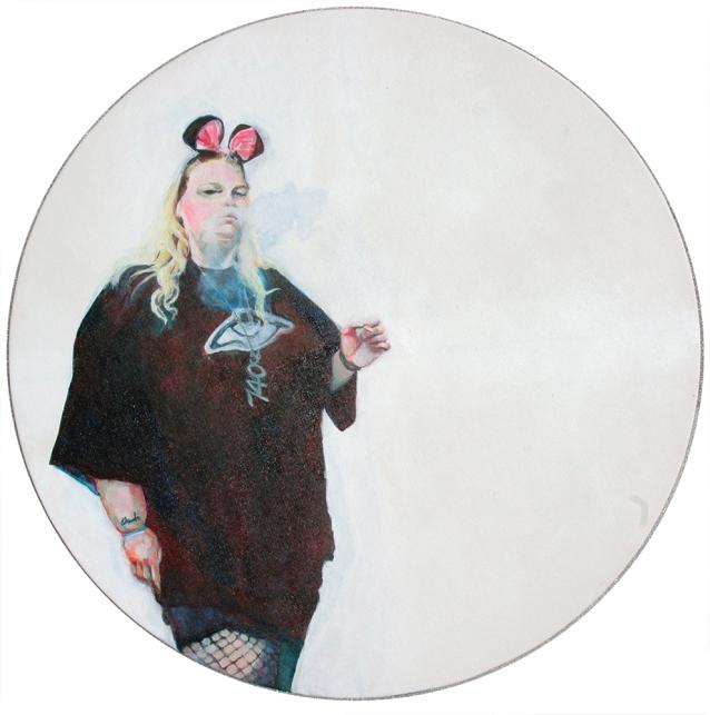 "Miss Cyainide, 2015; acrylic on canvas board (diameter 16"")"