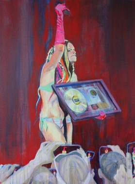 """Miss Juggalette, 2015; acrylic on canvas (approx 24"""" x 18"""") $150"""