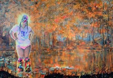 "The Marsh Lagoon, 2015; Acrylic on canvas (30"" x 40"")"